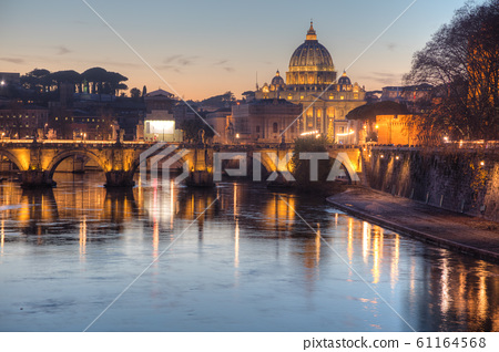 Rome overview with the Papal Basilica of St. Peter 61164568