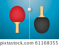 Vector 3d Realistic Red and Black Ping Pong Racket and Ball Icon Closeup on Blue Tennis Table Background. Sport Equipment for Table Tennis. Design Template. Stock Illustration 61168355