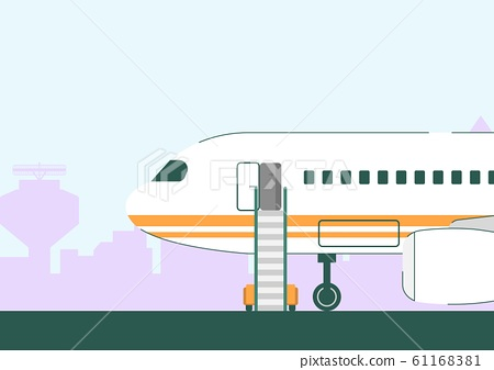 White Plane with Open Door and Staircase on Runway 61168381