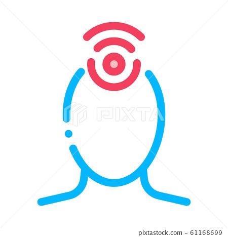 Hypertension Human Head Silhouette Vector Icon 61168699
