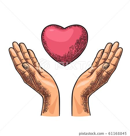 Heart in open female human palms. Vector black 61168845