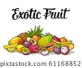Set exotic fruits with calligraphic lettering. 61168852