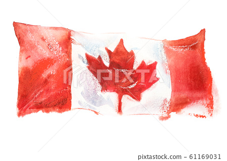 Canada, canadian flag. Hand drawn watercolor illustration 61169031