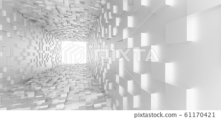 abstract white light at the end of the tunnel futuristic concept white cubes tunnel 3d render illustration 61170421