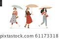 Rain - walking people set 61173318