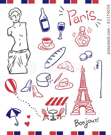 法國巴黎矢量線描插圖時尚的顏色 61174039