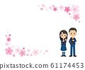 即将毕业的男孩和女孩[樱花框架模板] 61174453