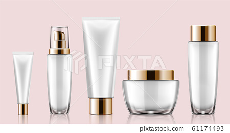 White cosmetic container mockup set 61174493