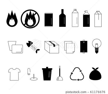 垃圾(原始,可燃,不可燃等)圖標 61178876