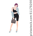Fashionable girl. Vector flat design colorful fashionable girl standing in blue jacket and suit dresses with a square and accessories. Woman in luxury clothes. A beautiful, tall girl with long legs in 61179200
