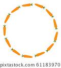 Carrot Wreath. Fresh Vegetables isolated on white 61183970