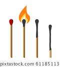 Burning match with fire 61185113