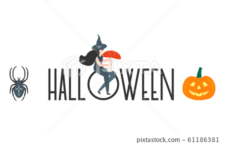 Creepy elements for Halloween 2020 Party card 61186381