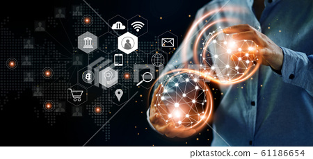 Abstract network. Man holding global structure networking and data exchanges with icon customer connection on dark background, Digital marketing, banking and cloud computing. 61186654