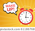 Wake up poster with alarm clock. Vector stock 61186768
