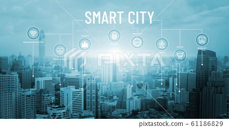 Smart city with smart services and icons, network connection and augmented reality, internet of things, communication, sunset background. 61186829