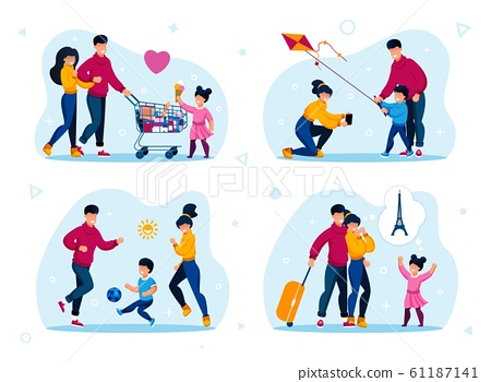 Family Happy Time Recreation Flat Vector Set 61187141