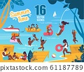 Summertime Vector Scenes Set with Resting Families 61187789