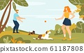 Happy Man and Woman Pet Owner Walking Dog in Park 61187808