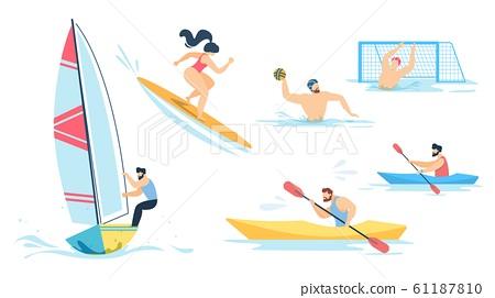 Water Sport and Sportive People Characters Set 61187810