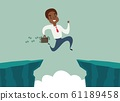 black african american businessman jump over cliff gap, overcome the difficulty. Business concept 61189458