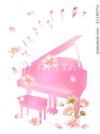 春天和樂器櫻花花瓣跳舞 61190752
