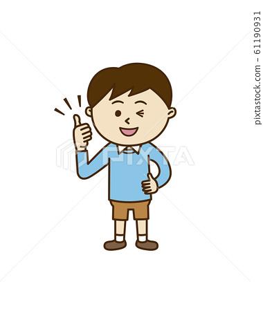 豎起大拇指的男孩 61190931