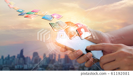 Hands using mobile payments, Digital marketing. Banking network. Online shopping and icon customer networking connection on virtual screen, Business technology concept 61192081