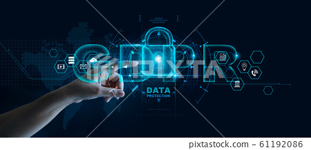 Data protection privacy concept. GDPR. EU. Cyber security network. Business man protecting data personal information on tablet and virtual interface. Padlock icon and internet technology networking 61192086