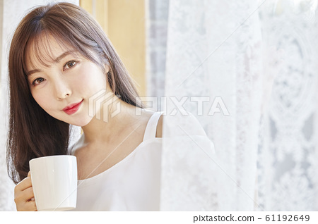 Young woman, morning, dress, room, house 61192649
