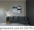 3d rendering of loft living room with black 61192761