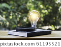 Light bulb and a book on table and copy space for 61195521