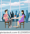 Cute couple sitting at table, drinking tea or coffee and talking cafe. Young man and woman romantic relationship. Male female characters. Vector illustration flat cartoon 61200850