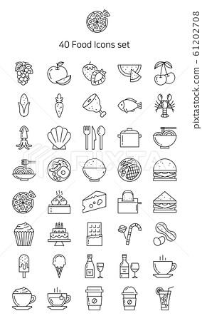 라인 아이콘 세트 - 음식 61202708
