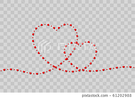 Red heart shape paper isolated on transparent background 61202988