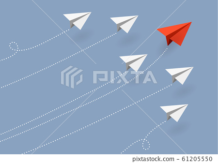Business concept. Red paper airplane flying 61205550