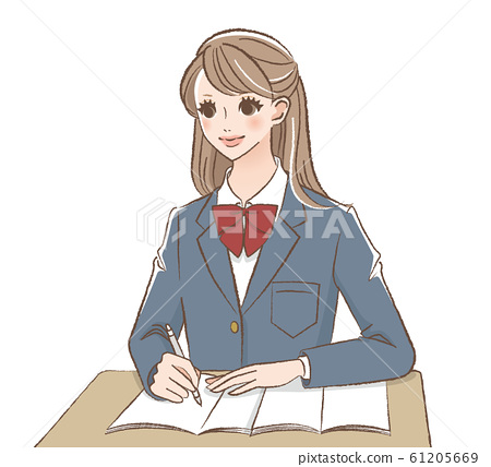 School girls studying 61205669