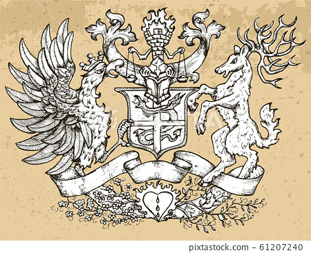 Heraldic emblem with fairy rooster bird and deer with big horns on texture background. 61207240