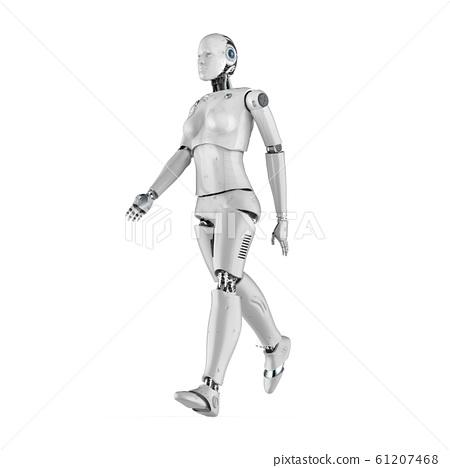 Female cyborg or robot walk 61207468