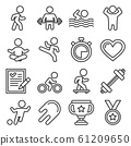 Wellness Sport and Fitness Icons Set. Line Style Vector 61209650