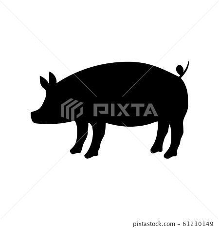 Silhouette of pig vector icon in flat style 61210149