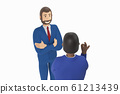 Two cartoon character, businessmans in suit with arms crossed. 3d rendering 61213439