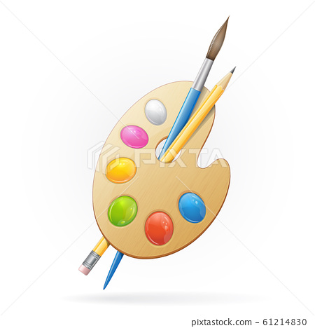 Wooden artist palette, yellow pensil and blue paintbrush. Vector illustration 61214830