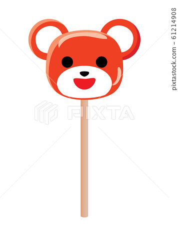 Cute smiling red bear stick candy 61214908