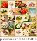 Set of 25 floral pictures on grunge old paper 61215010