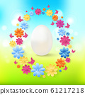 Easter eggs with colorful flowers, butterflies on spring background. 61217218