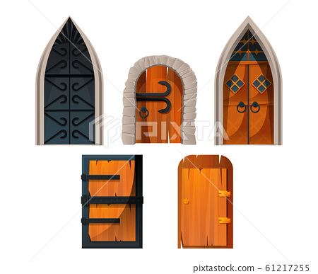 Old medieval castle doors and gates 61217255