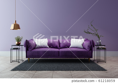 Luxury modern interior of living room ,Ultraviolet home decor concept ,purple sofa and black table with gold lamp on light purple wall and woodfloor ,3d render 61218059