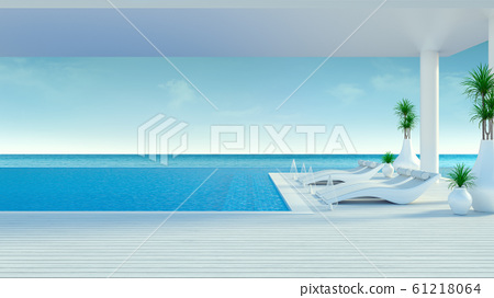 Beach lounge ,sun loungers on Sunbathing deck and private swimming pool with  panoramic sea view at luxury villa,summer /3d rendering 61218064