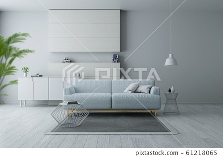 Modern and minimalist interior of living room, Blue armchairs on white flooring and white wall  ,3d rendering 61218065